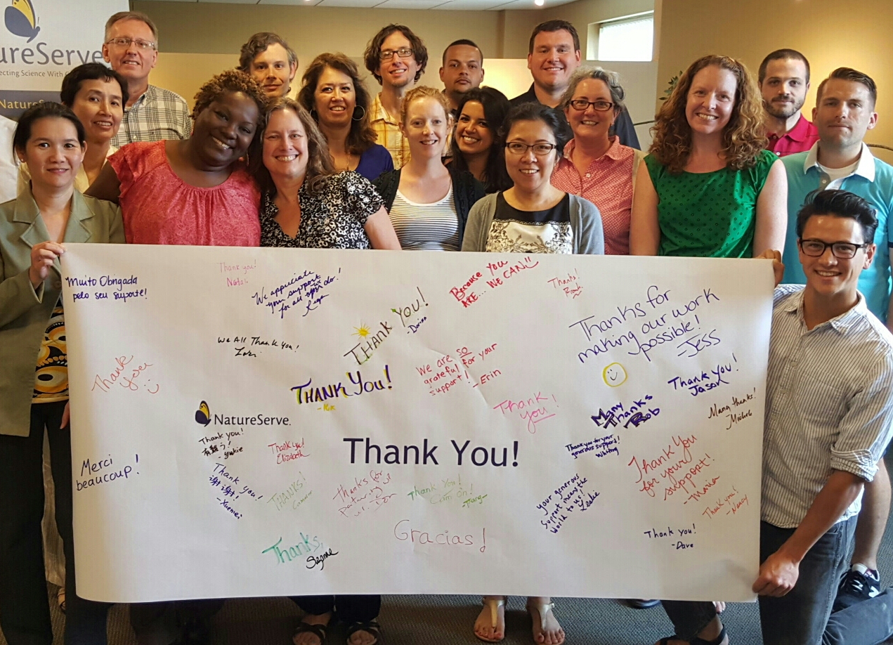 NatureServe staff signed a thank you banner for donors.