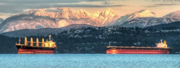Freight liners off the coast of Vancouver, B.C. Photo: James Wheeler | http://flic.kr/p/bj9f4F