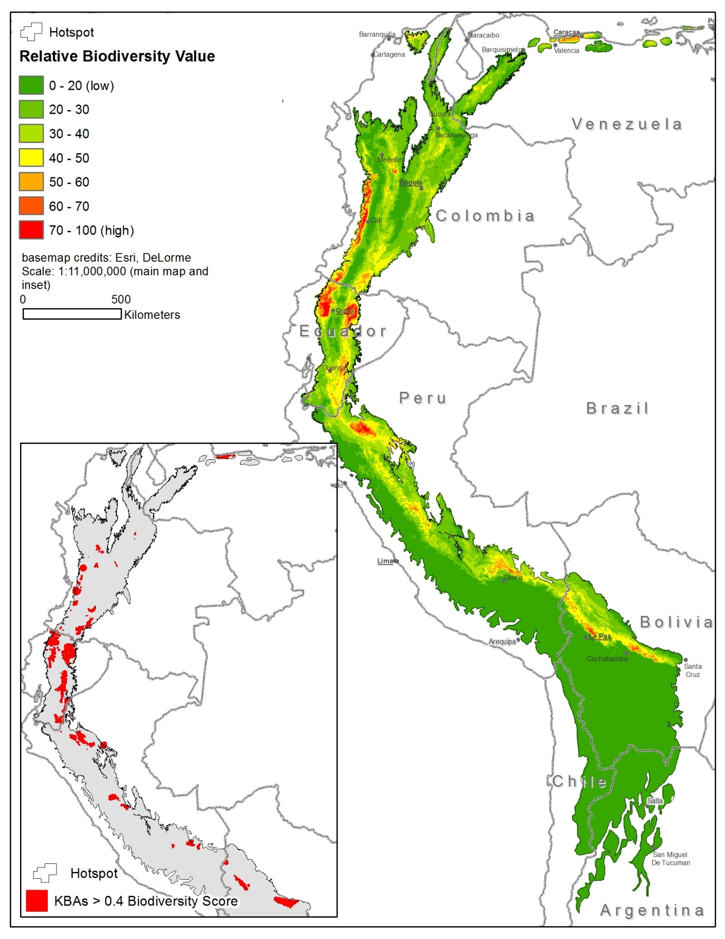 The ecosystem profile identifies the hotspot's Key Biodiversity Areas and their relative biodiversity value.