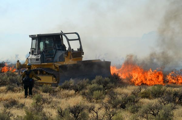 A bulldozer works to stop the further destruction of vital sagebrush in western Idaho. Destructive fires are primarily a result of the invasion of annual grasses like cheatgrass and medusahead rye. Photo: Dan Hottle, USFWS.