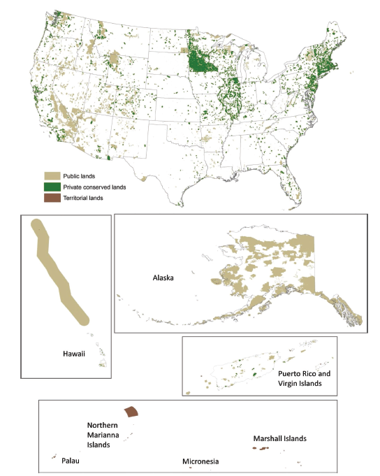 Conservation areas within the United States, including Alaska, Hawaii, Puerto Rico, Virgin Islands, and US Territories.