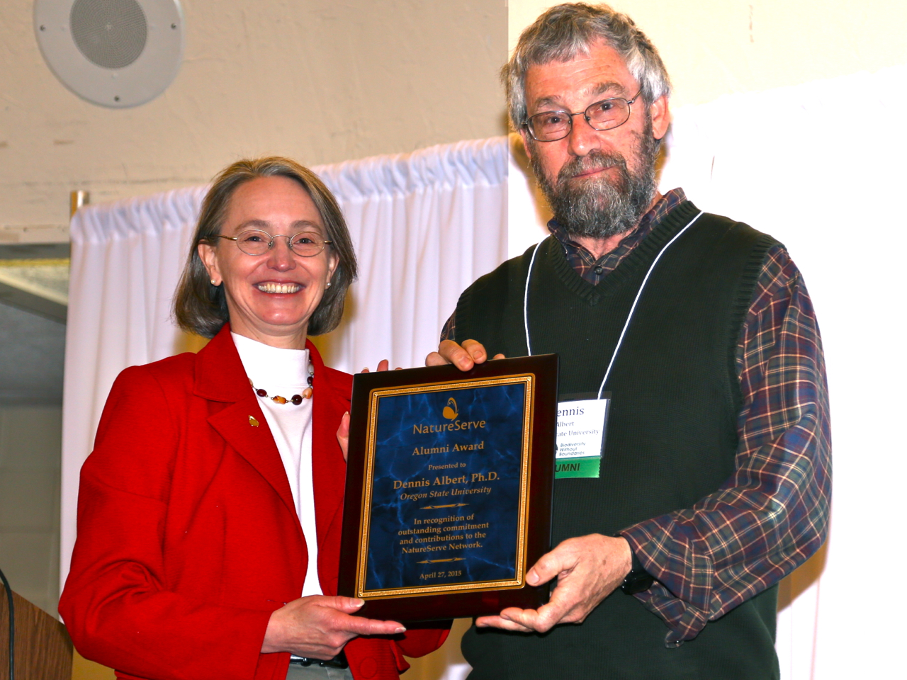 Dennis Albert, a former lead ecologist for the Michigan Natural Features Inventory, receives the 2015 NatureServe Alumni Award.