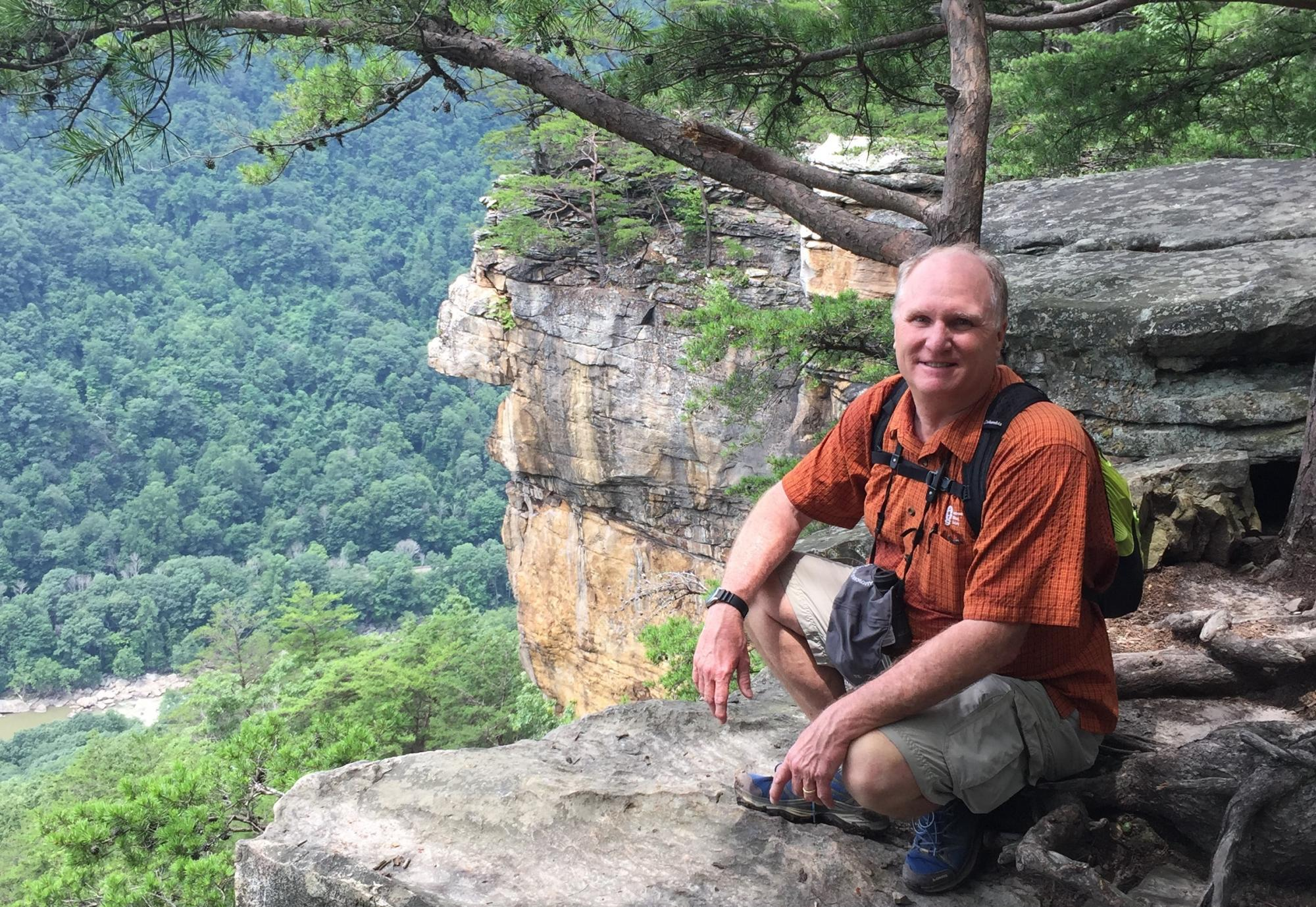 Dr. Miller on a recent hike along the Endless Wall Trail at the New River Gorge National Park, WV