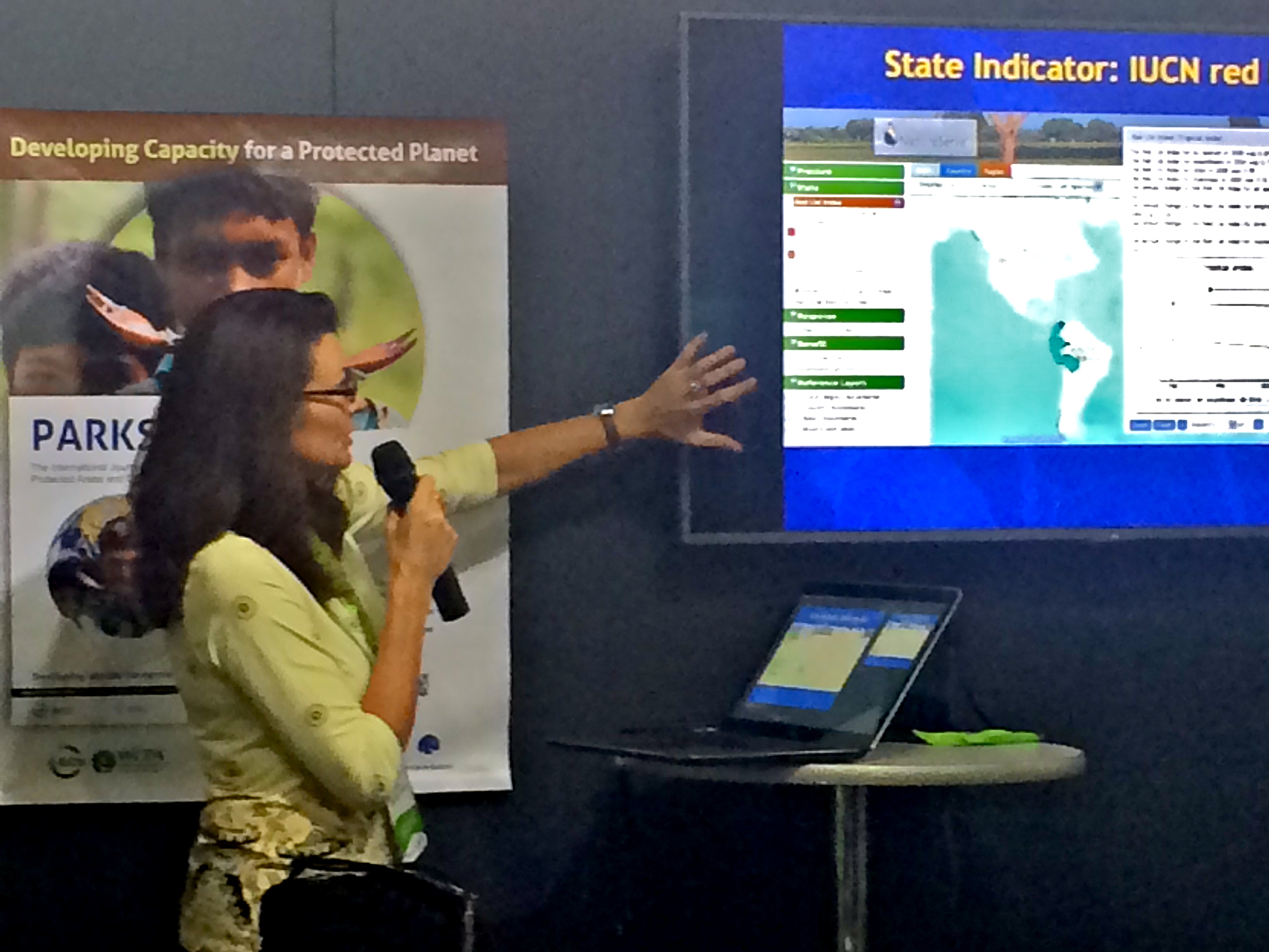 Chief Scientist Healy Hamilton unveiled NatureServe's new Biodiversity Indicators Dashboard last month at the World Parks Congress in Sydney.