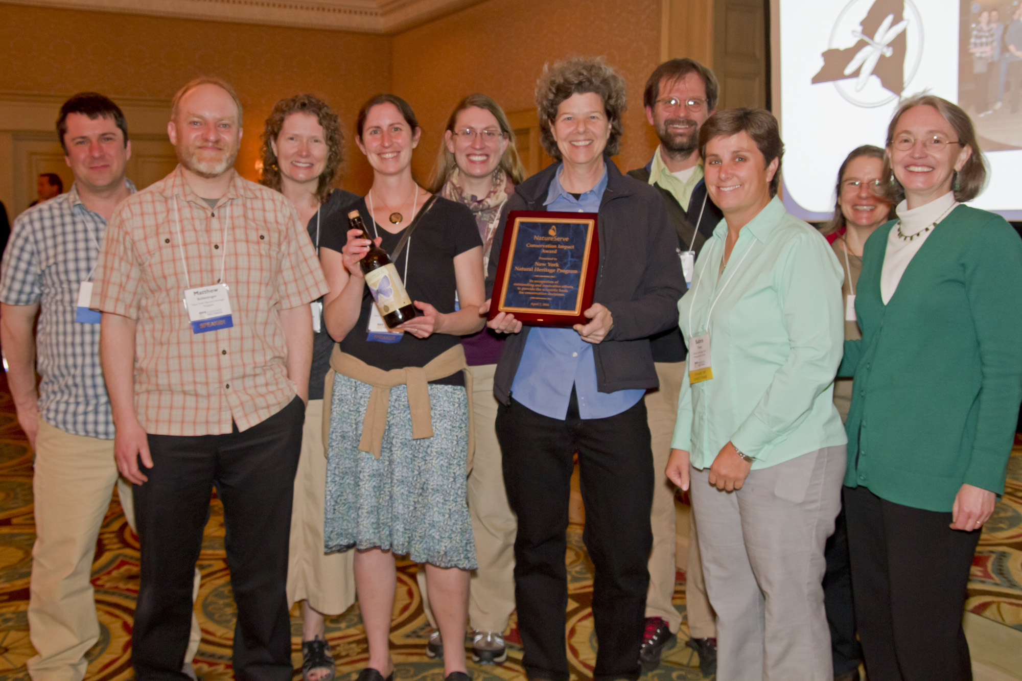 Scientists from the New York Natural Heritage Program receive NatureServe's 2014 Conservation Impact Award at a reception during the Biodiversity Without Boundaries annual conference, on April 7 in New Orleans.