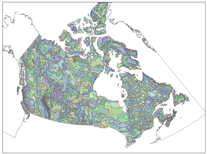 "NatureServe Canada's ""Canada terrestrial ecoshapes mosaic"" for EBAR mapping.  Each ecoshape of an EBAR map contains accessible reference information documenting the decision on whether the species is known to be present, or not present, in a given ecoshape."