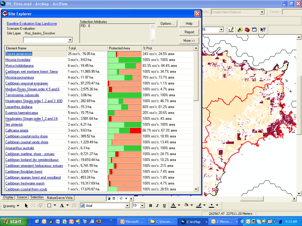 Exploring results of scenario evaluation in Vista's Site Explorer function.