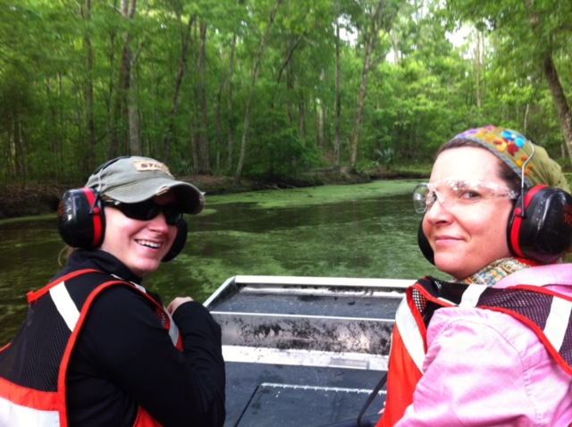 Erin Hoy and Stephanie Sattler of USGS Upper Midwest Environmental Sciences Center working from airboat | Photo by Rickie White