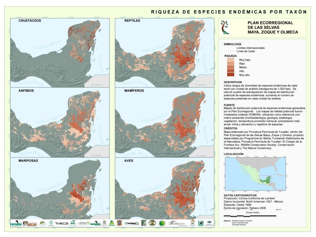 1st Place: Pronatura Yucatán's Mapa de riqueza de especies endémicas de las selvas Maya Zoque y Olmeca. Clear symbology and obvious conservation implications took the win for this map of endemic species richness in the Yucatán peninsula. ¡Felicitaciones, Pronatura Yucatán!