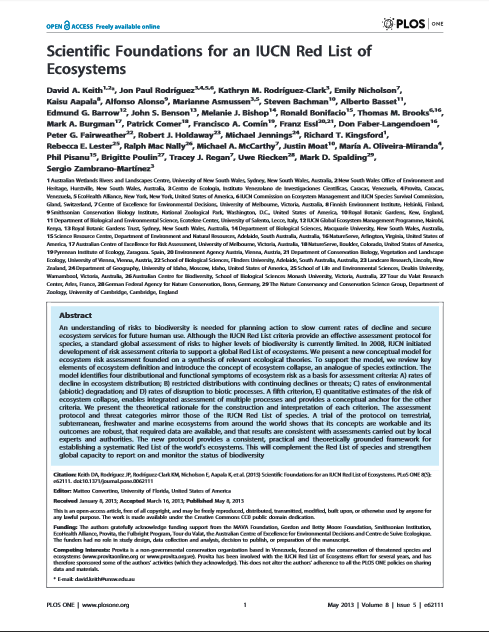 Scientific Foundations for an IUCN Red List of Ecosystems ...
