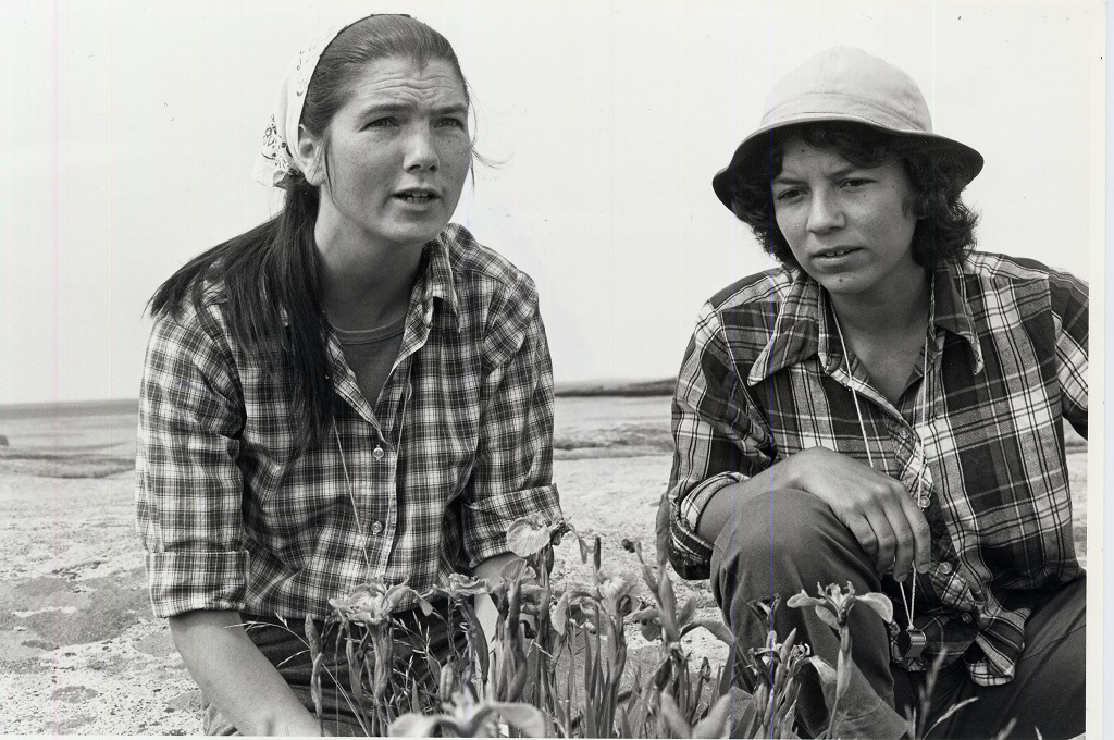 Sue Gawler (right) with Barbara Vickery at Little Moose Mountain in Maine in 1982