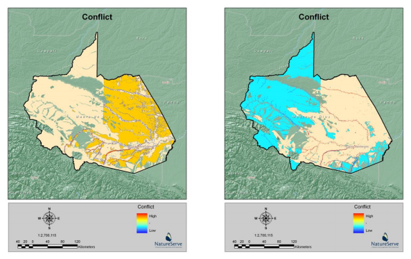 Two Vista-derived data layers drawn of the Madre de Dios area of Peru: cultural conflict (left) and economic conflict (right) in the comprehensive scenario evaluation.